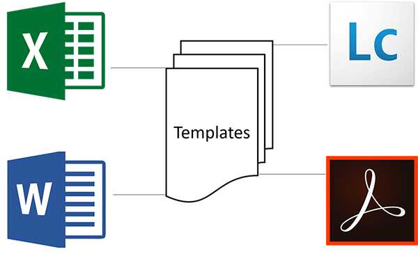Templates created from Microsoft Word, Microsoft Excel and Adobe or Livecycle Designer